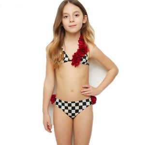 Mommy And Me Swimsuit 2019 Summer New Plaid Shoulder Petal  Bikini Set