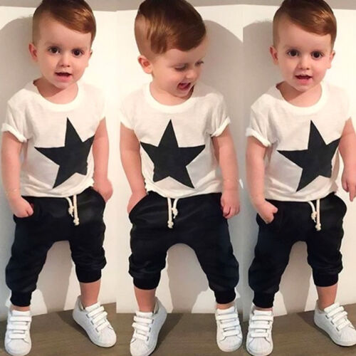 Toddler Kids Boys Star Print Tops T-shirt Outfits 2pcs