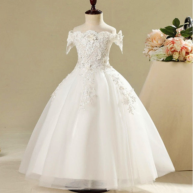 Kid Girls Tulle princess Dress Gorgeous Ball Gown Wedding Party Costume For 1-12Y