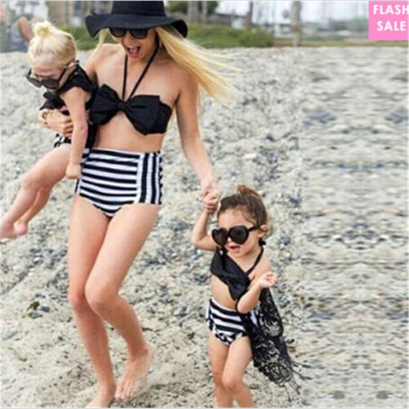 Summer Family Matching Women Baby Girls Bikini Swimwear Hot Fashion