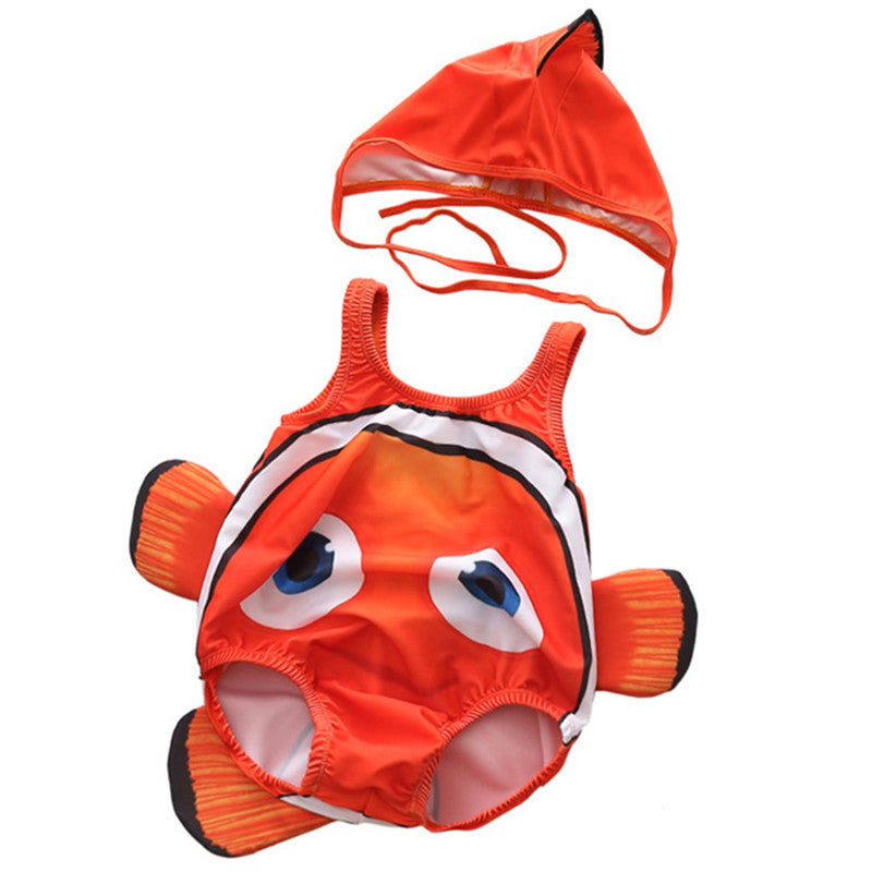 Toddler One-Piece Cute Swimsuit With Cap Fish Print 3D Animal  Swimwear