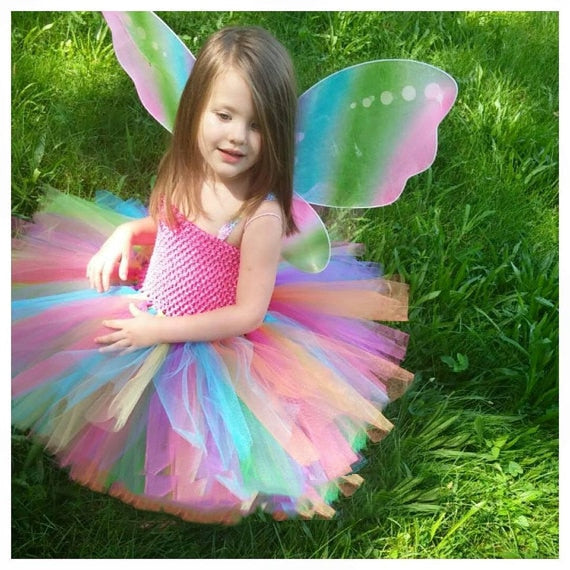 Girls Rainbow Tutu Dress  Fluffy Tulle  With Butterfly Wing Cosplay Costume