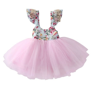 Kids Girls Cute Floral Fly Sleeve Dress Party Gown Formal Dresses Backless Sundress