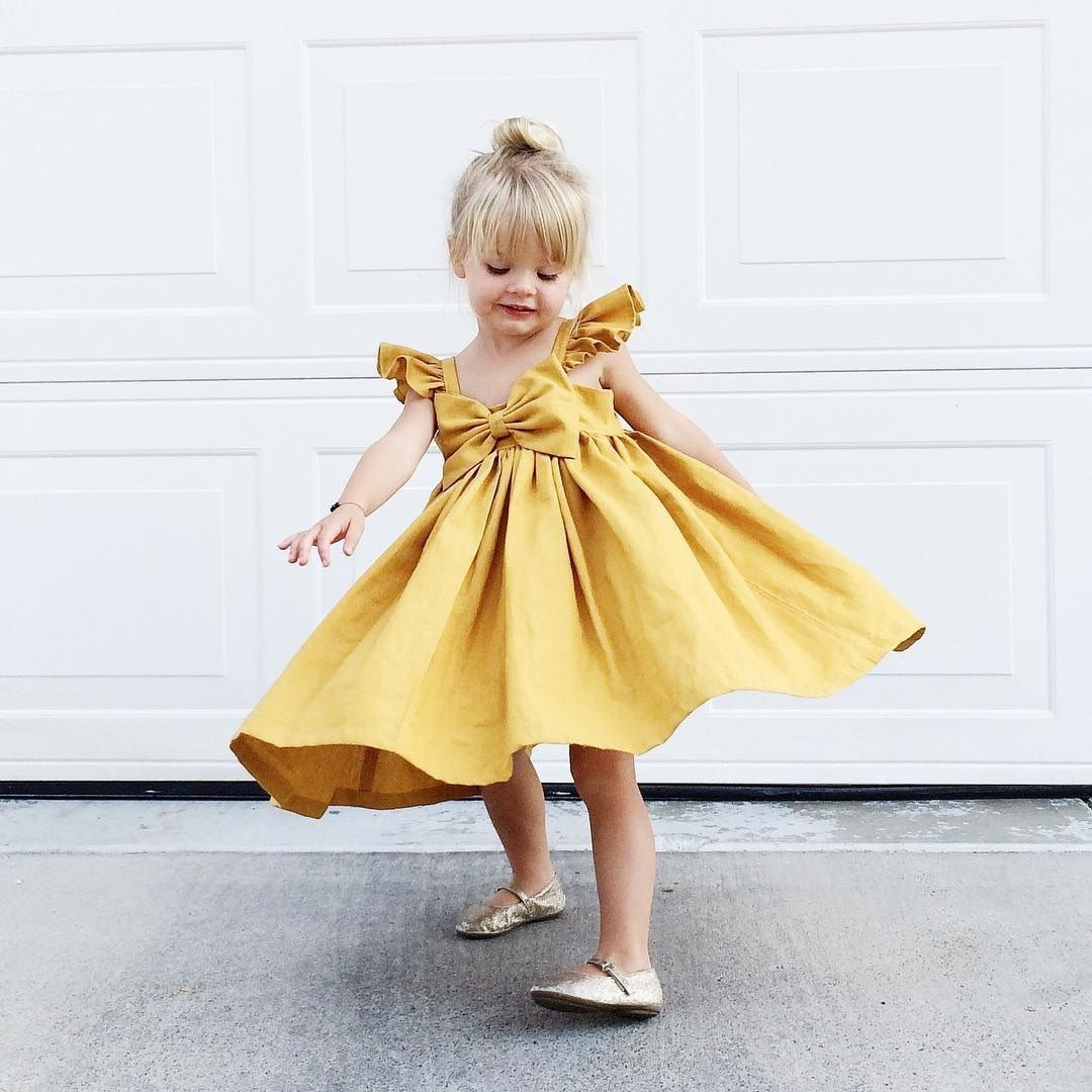 Cute Kid Baby Girl  Princess Party Bow Gown Yellow Dress