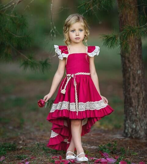 Kids Girls Party Bow Princess Lace Dress Flower Wedding Formal Ruffle Dresses