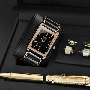 2019 new watch male rectangular male waterproof ceramic non-mechanical watch square steel belt men's watch