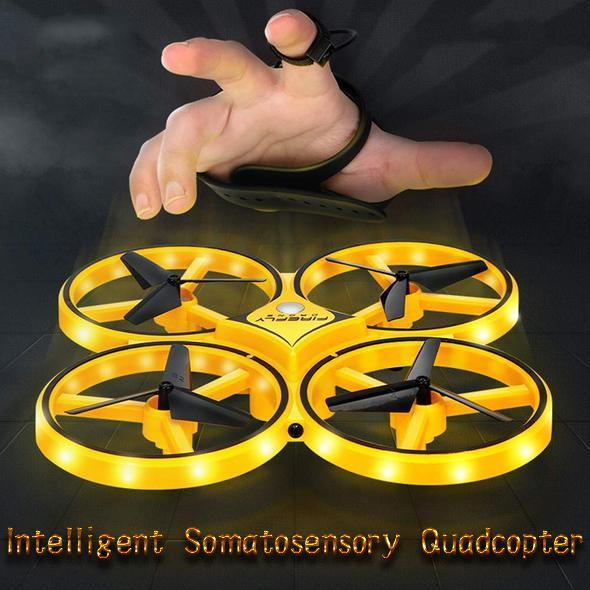 Smart watch controllable interactive induction quadcopter