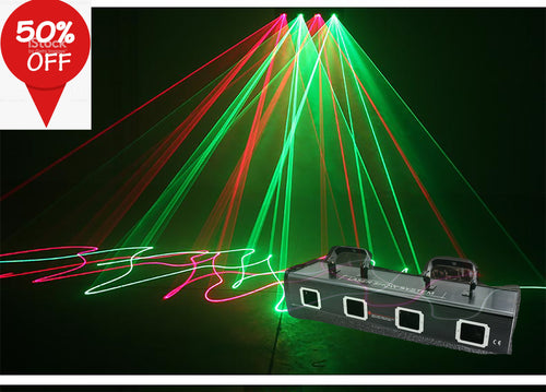 Stage lighting four head four-color laser light KTV room flashing light di di bar light sound control beam laser light