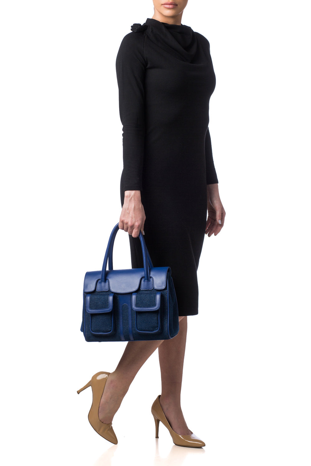 Denim & Cobalt Leather Christy Mini Tote | Mel Boteri Designer Handbags | New Summer Collection