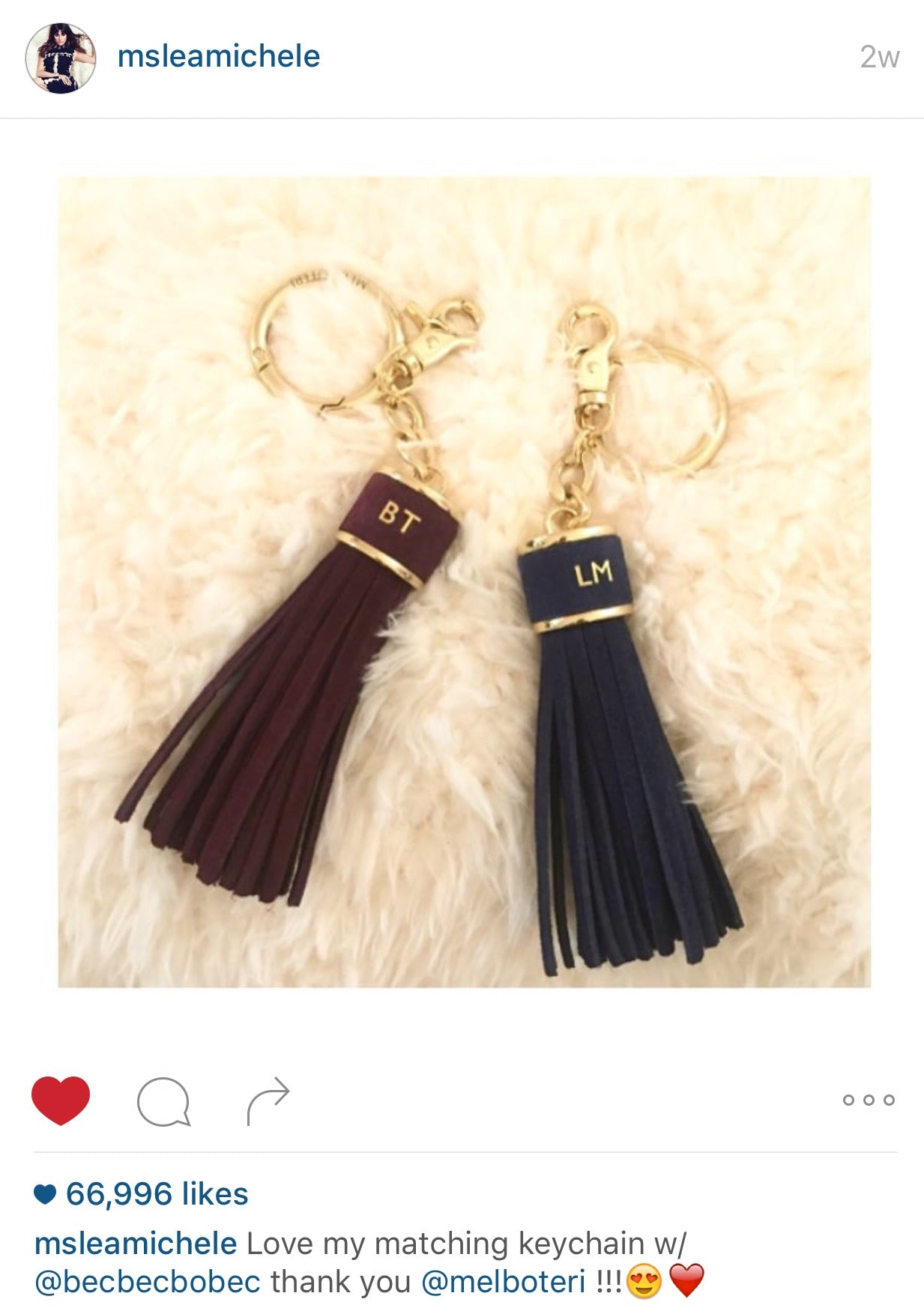 Lea Michele Post About Matching Mel Boteri Custom Tassel Charm With Becca Tobin