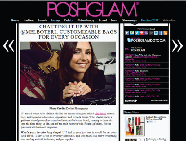 Mel Boteri Featured on PoshGlam.com | Mel Boteri Press Highlights