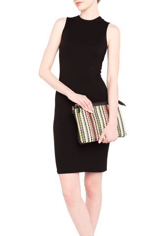 Mel Boteri | Multicolor Raffia and Black Leather 'Abbey' Clutch | Model View