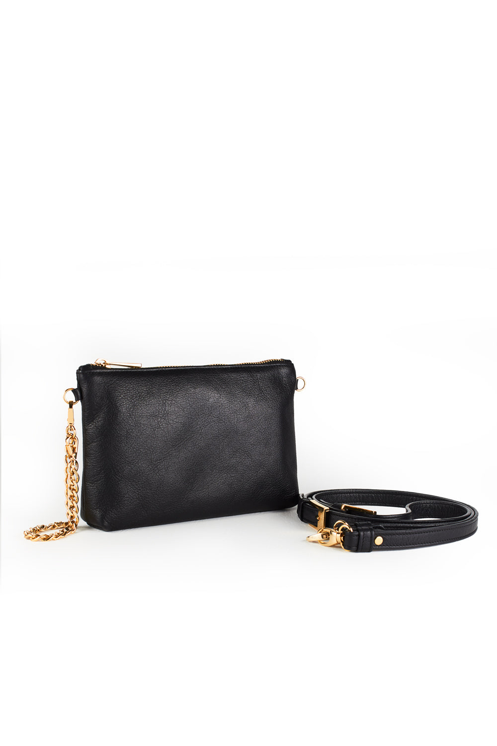 Mel Boteri | Black Leather 'Kat' Pouch | Side With Strap View