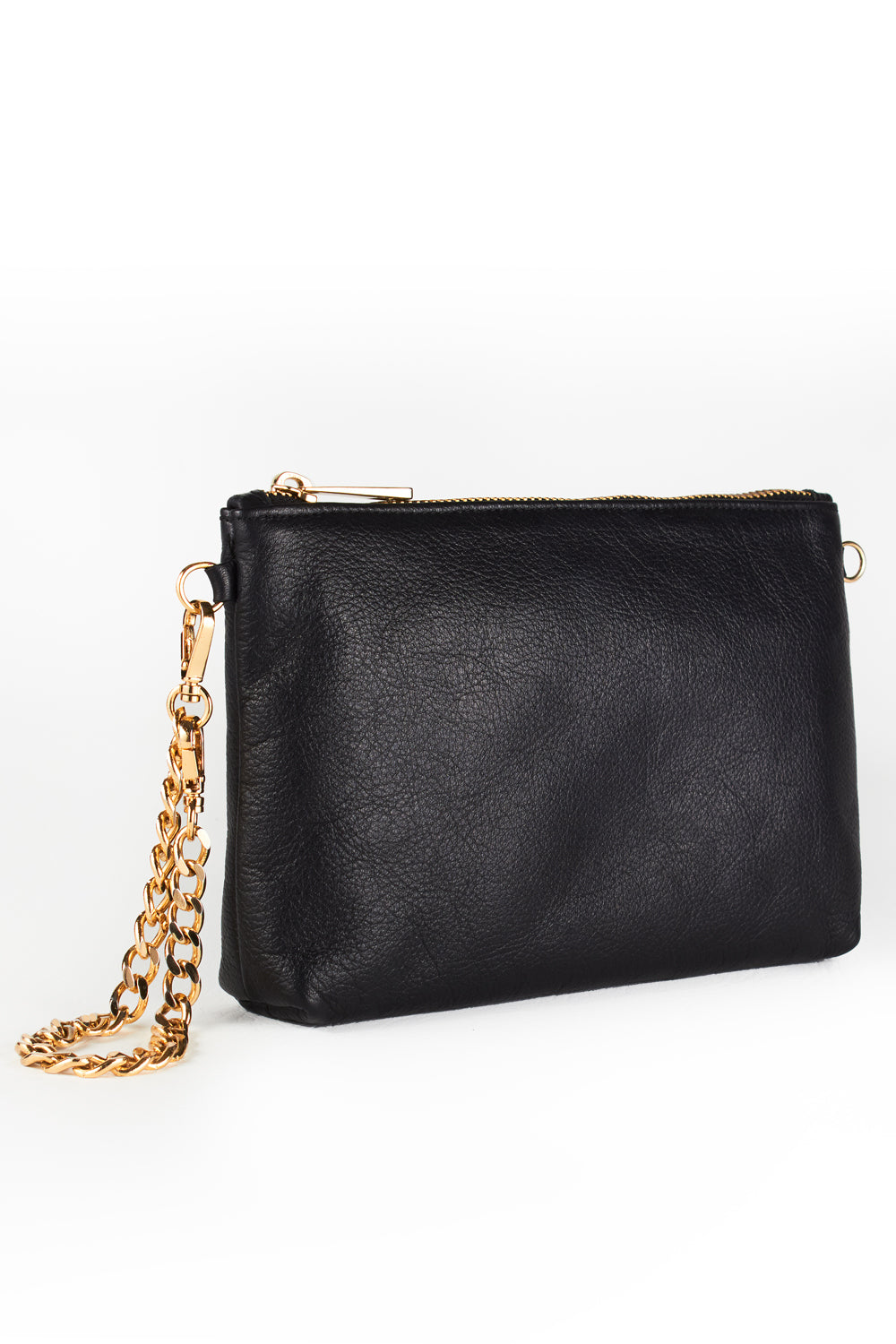 Mel Boteri | Black Leather 'Kat' Pouch | Side View