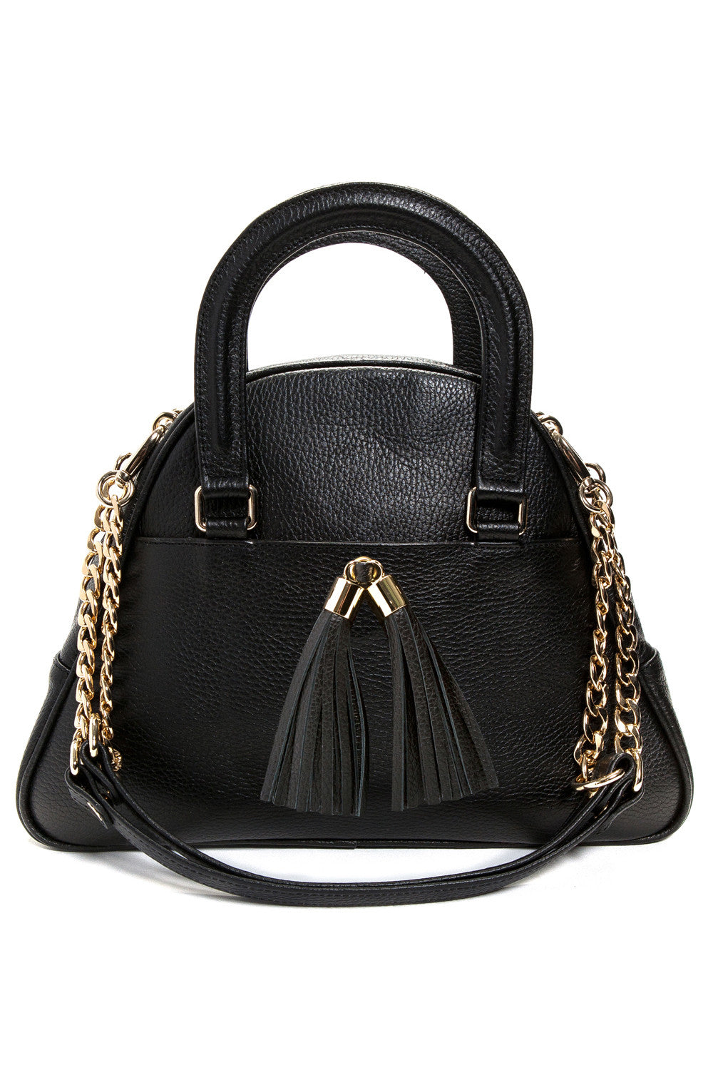 Black 'Marissa' Small Tote Handbag | Mel Boteri | Front View With Detachable Straps