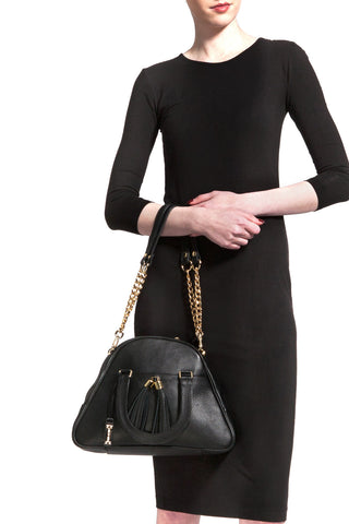 Black 'Marissa' Small Tote Handbag | Mel Boteri | Model View