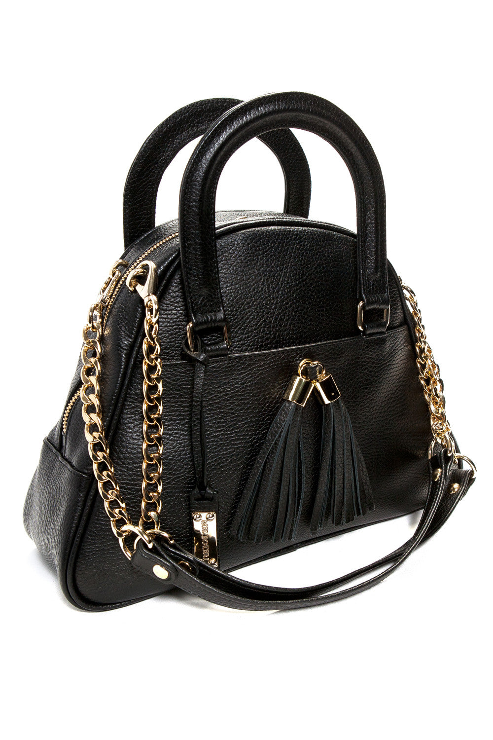 Black 'Marissa' Small Tote Handbag | Mel Boteri | Side View With Detachable Straps