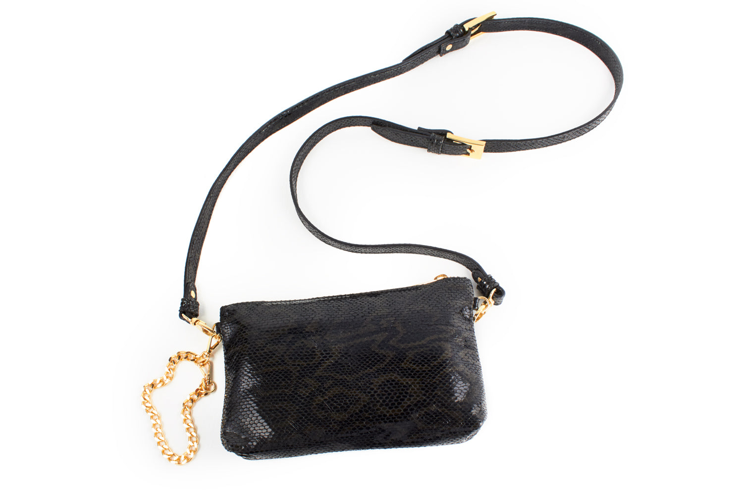 Mel Boteri | Black, Metallic Snake-Effect Leather 'Kat' Pouch | Cross-Body Style