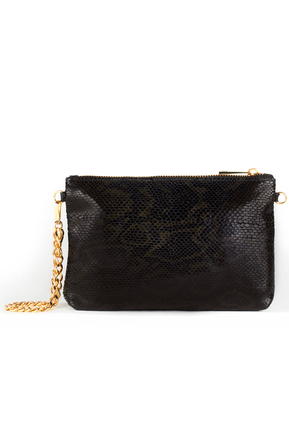 Mel Boteri | Black, Metallic Snake-Effect Leather 'Kat' Pouch | Front