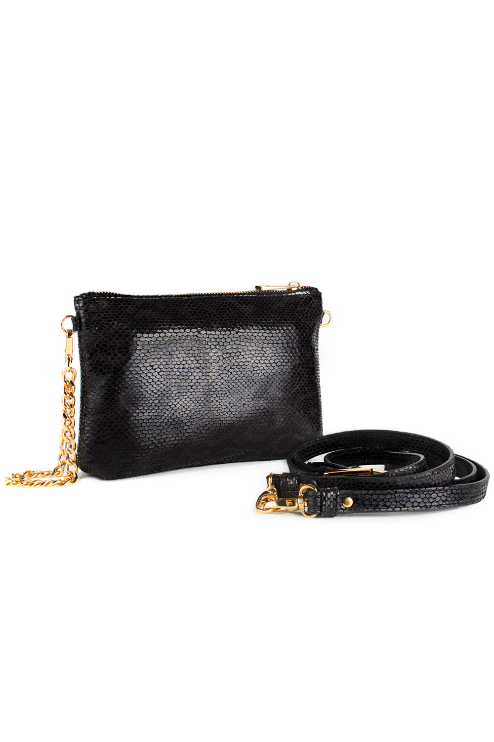 Mel Boteri | Black, Metallic Snake-Effect Leather 'Kat' Pouch | With Strap