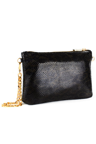 Mel Boteri | Black, Metallic Snake-Effect Leather 'Kat' Pouch | Side View