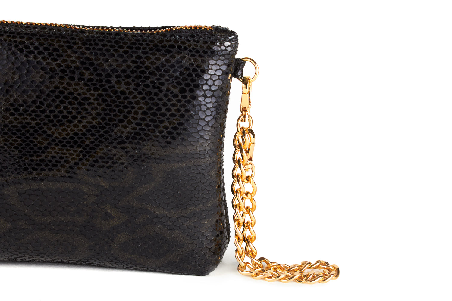 Mel Boteri | Black, Metallic Snake-Effect Leather 'Kat' Pouch | Detail View