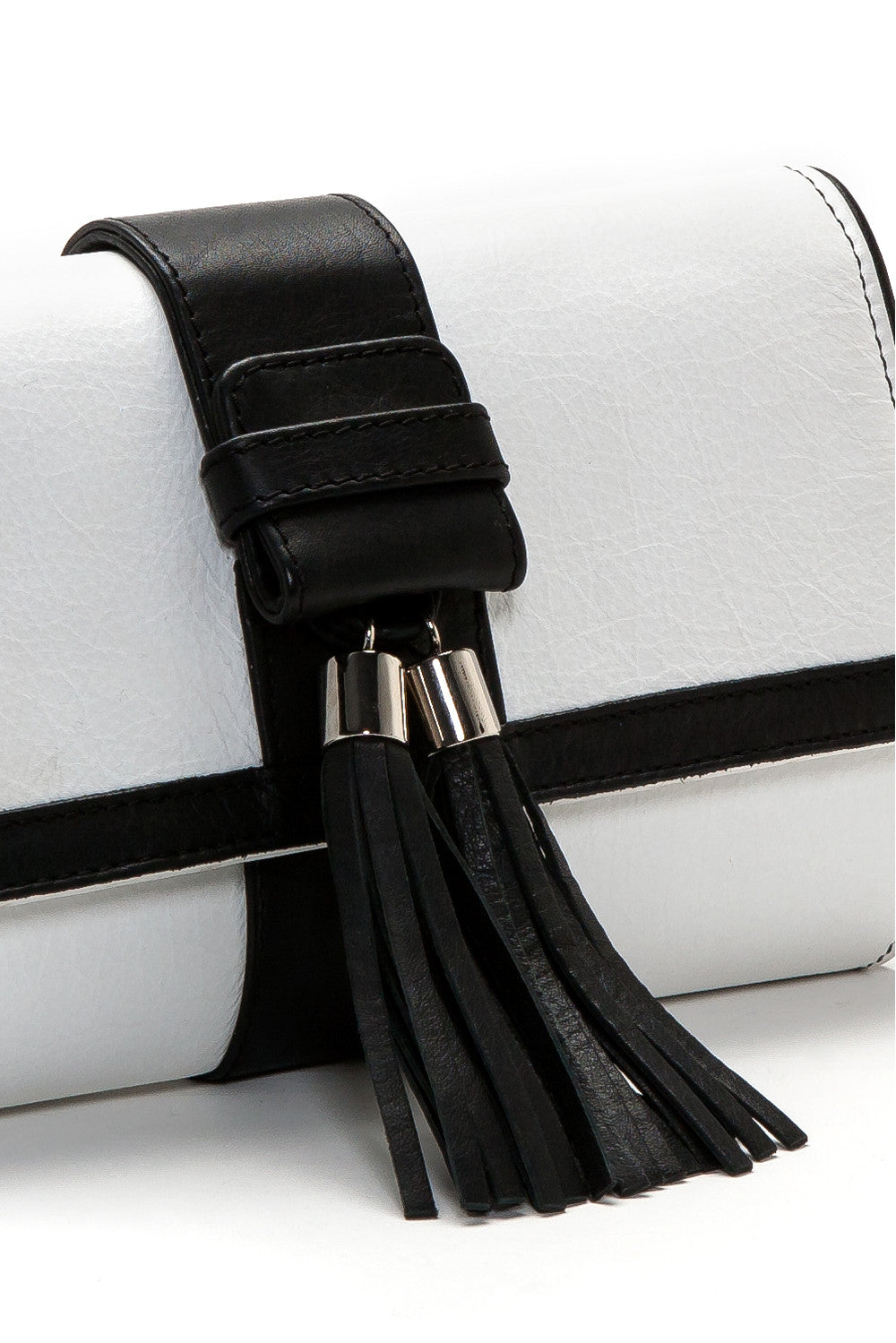 Black and White Tasseled 'Lauren' Small Shoulder Bag | Mel Boteri | Detail View