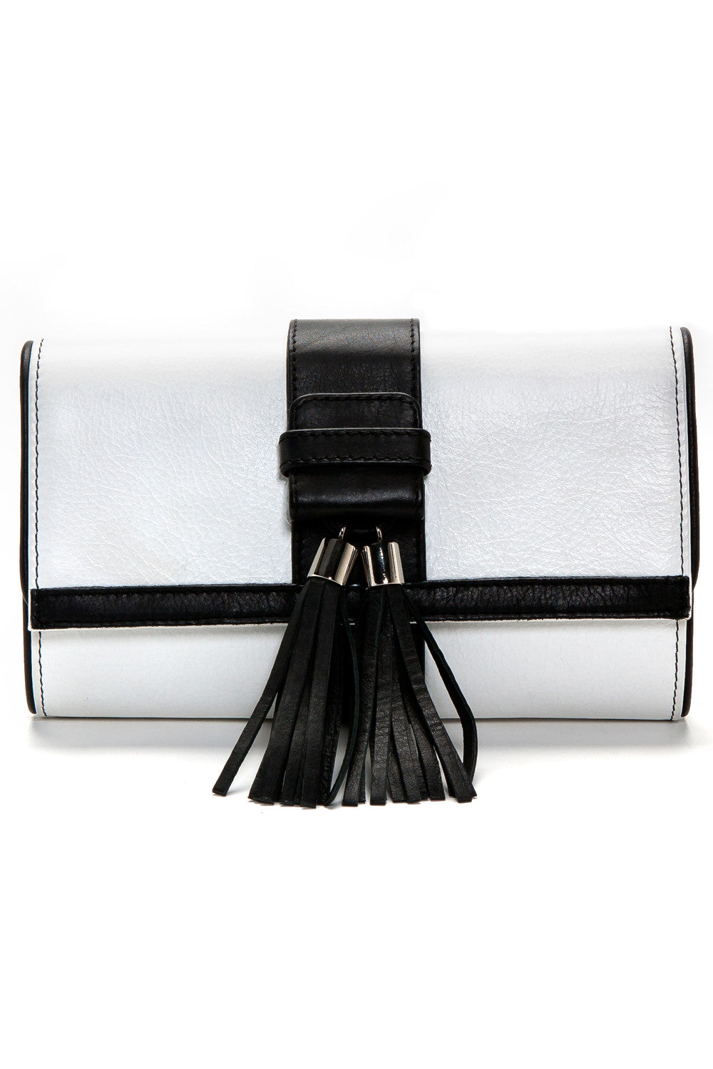 Black and White Tasseled 'Lauren' Small Shoulder Bag | Mel Boteri | Front View
