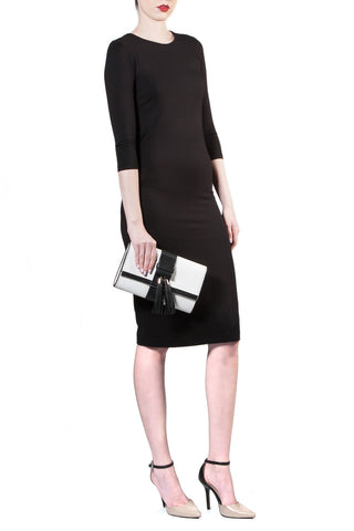Black and White Tasseled 'Lauren' Small Shoulder Bag | Mel Boteri | Model Clutch View