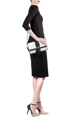 Black and White Tasseled 'Lauren' Small Shoulder Bag | Mel Boteri | Cross-Body View