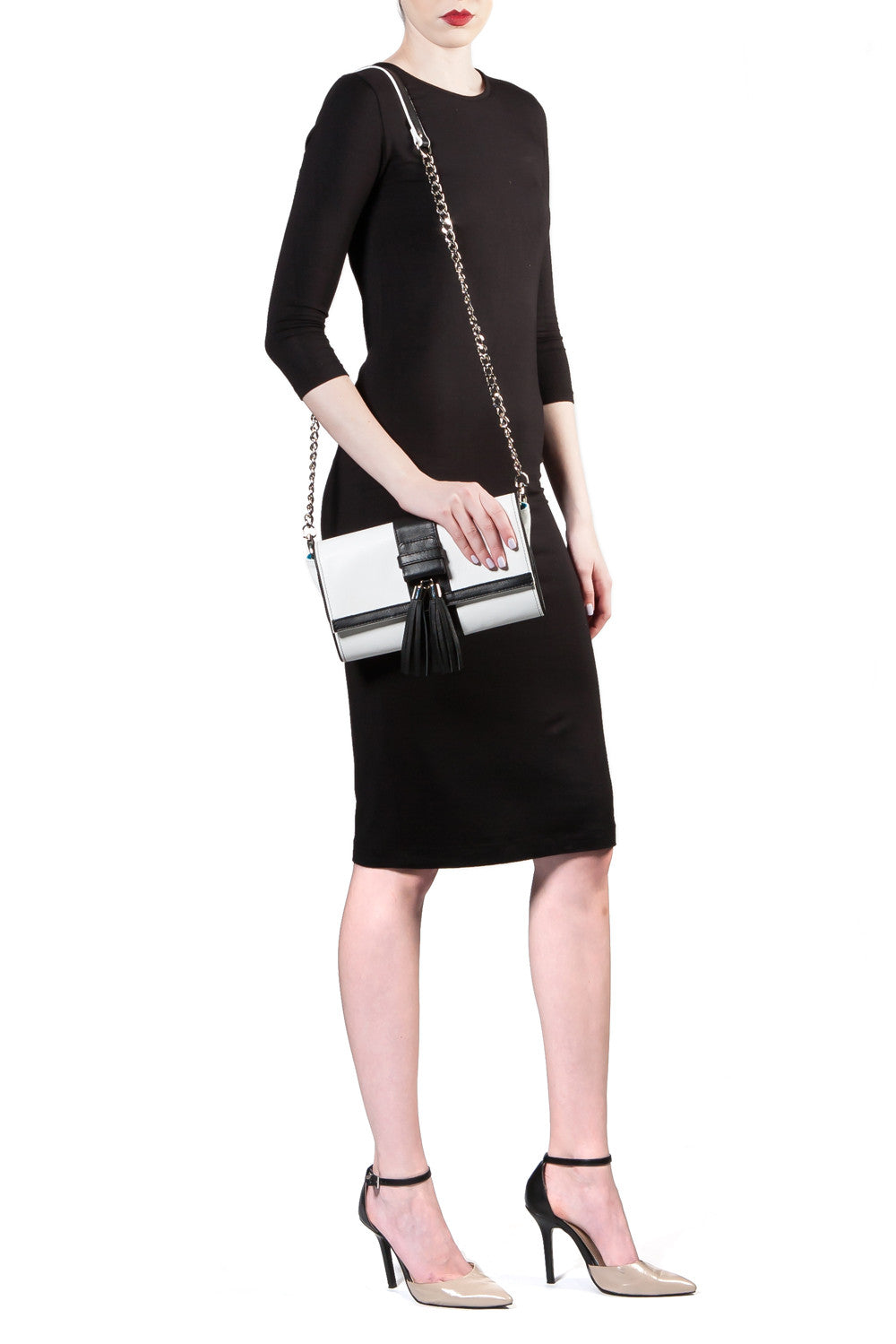 Black and White Tasseled 'Lauren' Small Shoulder Bag | Mel Boteri | Shoulder Strap View