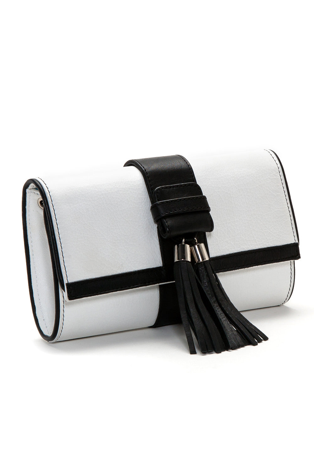 Black and White Tasseled 'Lauren' Small Shoulder Bag | Mel Boteri | Side View