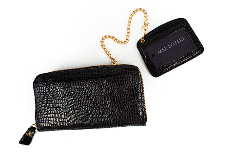 Mel Boteri | High Gloss, Black Lizard-Print Leather 'Maddox' Wallet | Detachable ID holder