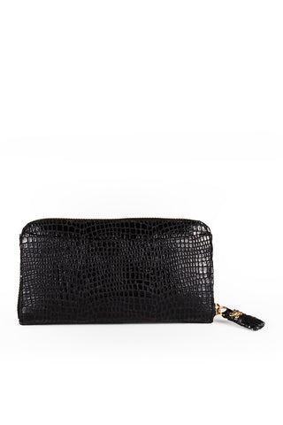 Mel Boteri | High Gloss, Black Lizard-Print Leather 'Maddox' Wallet | Front View