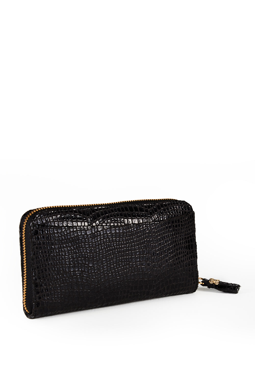 Mel Boteri | High Gloss, Black Lizard-Print Leather 'Maddox' Wallet | Side View