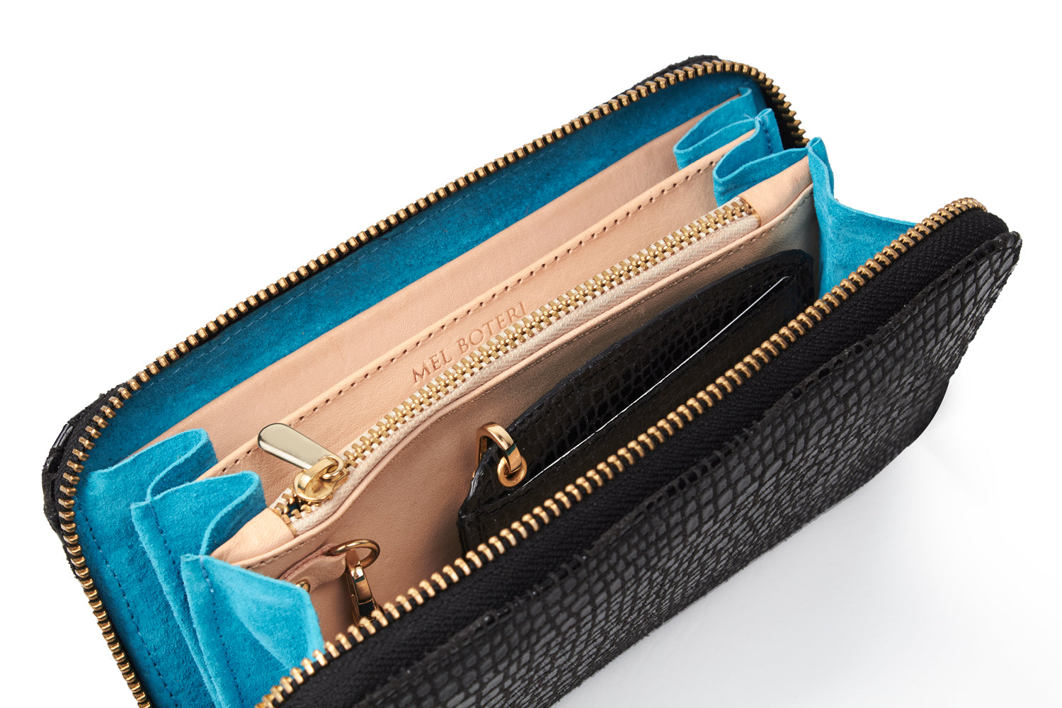 Mel Boteri | High Gloss, Black Lizard-Print Leather 'Maddox' Wallet | Signature Turquoise Lining