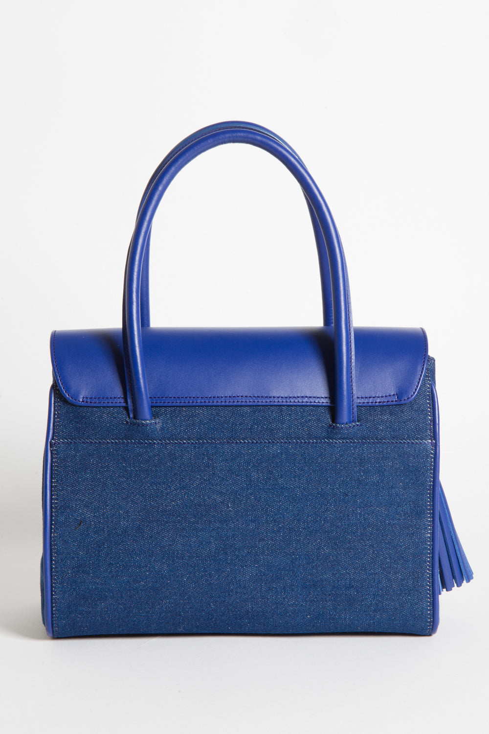 Denim & Cobalt Leather Christy Mini Tote | Back View | Mel Boteri