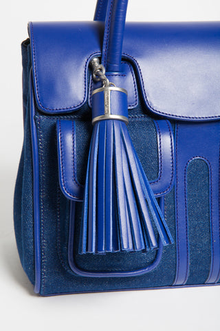 Denim & Cobalt Leather Christy Mini Tote | Tassel Detail View | Mel Boteri