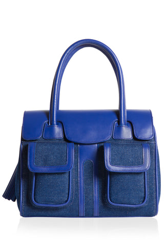 Denim & Cobalt Leather Christy Mini Tote | Front View | Mel Boteri