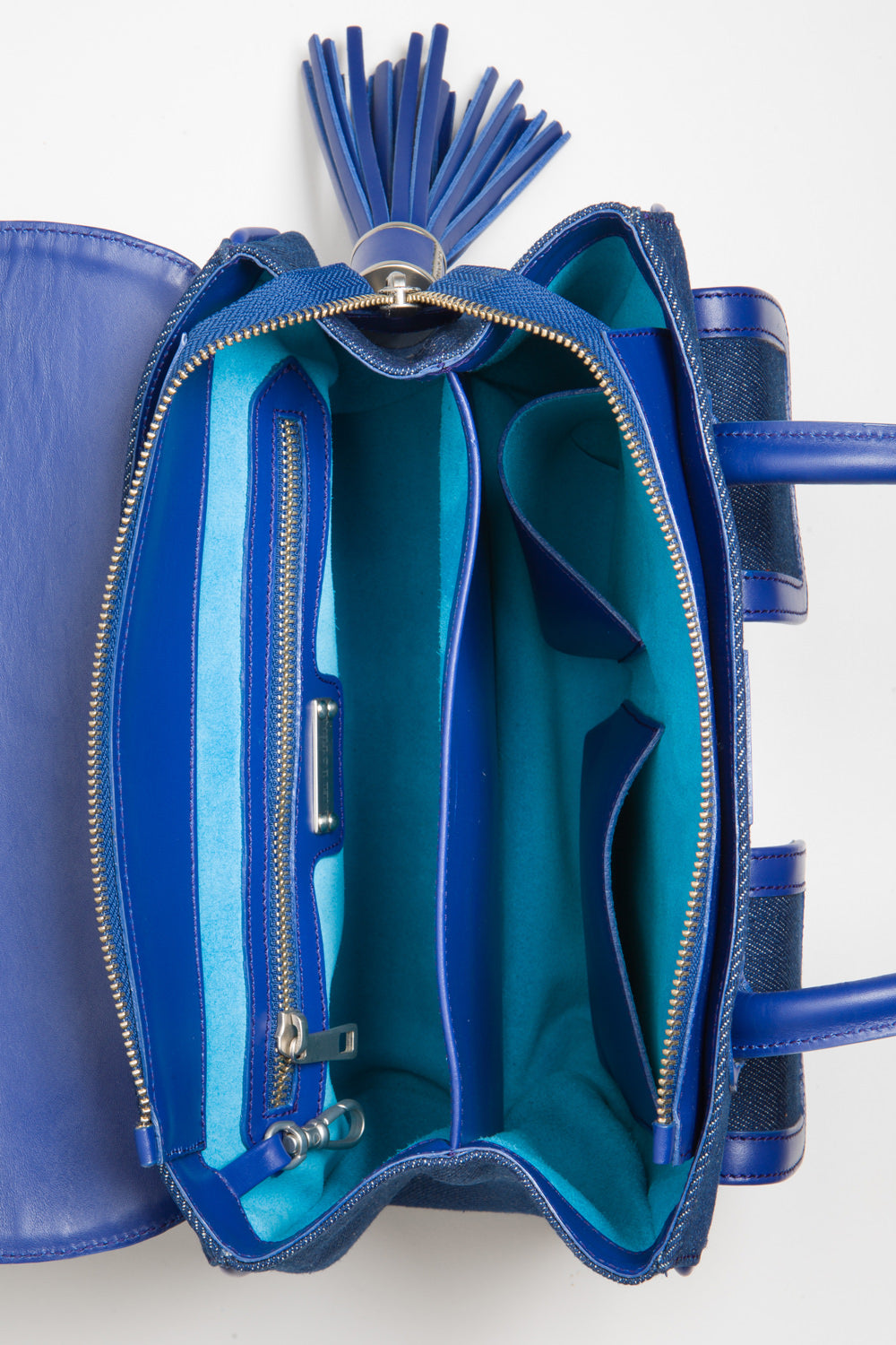 Denim & Cobalt Leather Christy Mini Tote | Turquoise Suede Lining Interior View | Mel Boteri