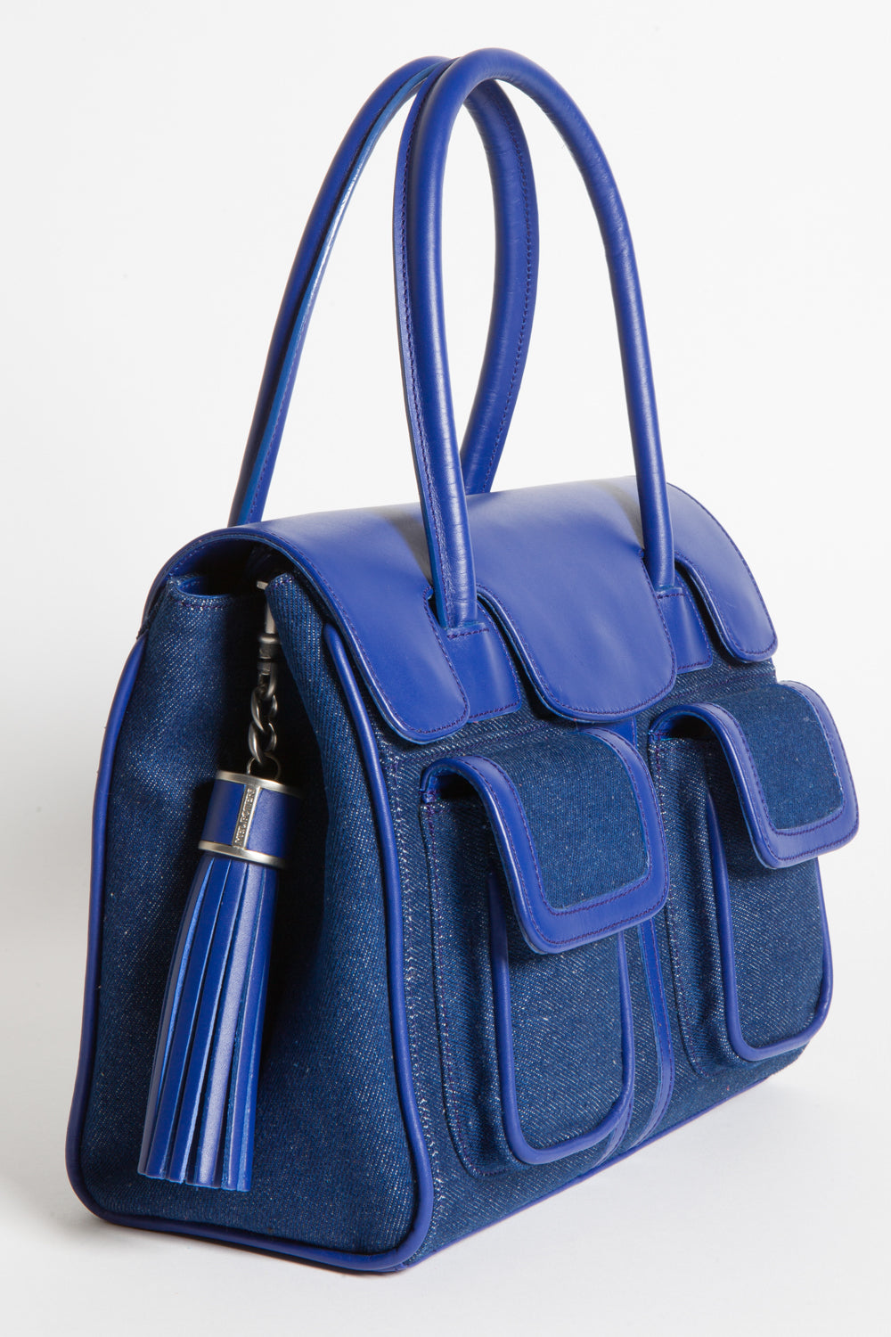 Denim & Cobalt Leather Christy Mini Tote | Side View | Mel Boteri