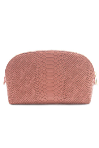 Cosmetics Clutch in Blush Snake-Effect Leather | Mel Boteri | Front View