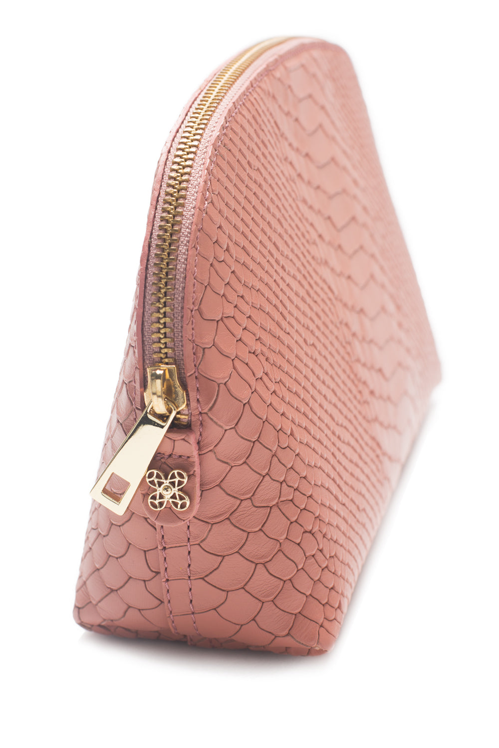Cosmetics Clutch in Blush Snake-Effect Leather | Mel Boteri | Detail View