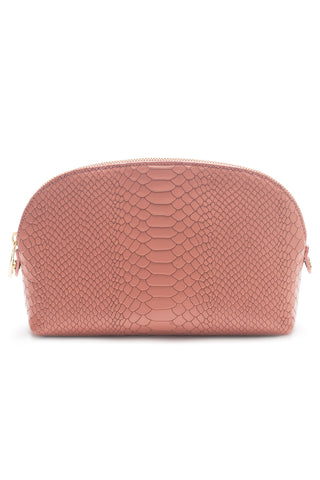 Cosmetics Clutch in Blush Snake-Effect Leather | Mel Boteri | Back View