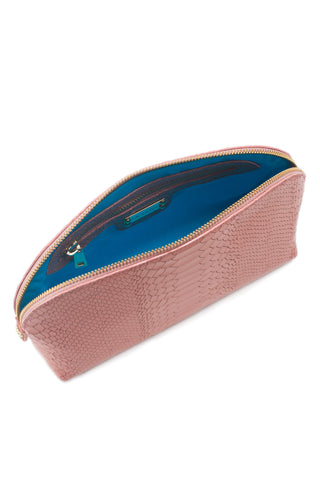 Cosmetics Clutch in Blush Snake-Effect Leather | Mel Boteri | Signature Turquoise Lining