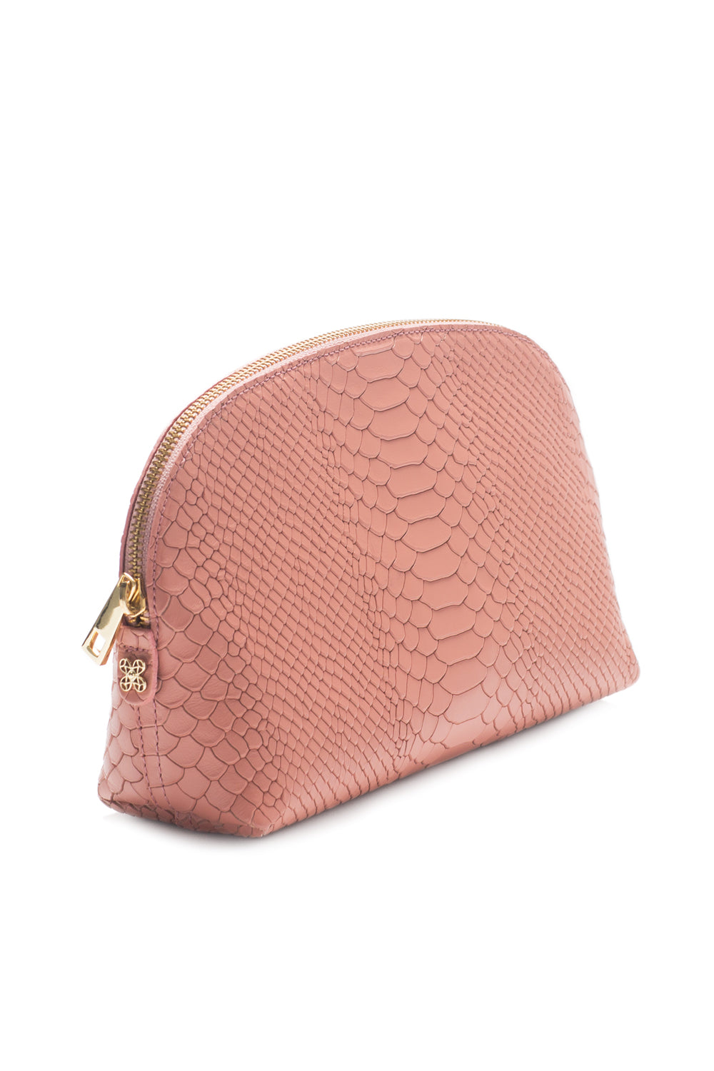 Cosmetics Clutch in Blush Snake-Effect Leather | Mel Boteri | Side View