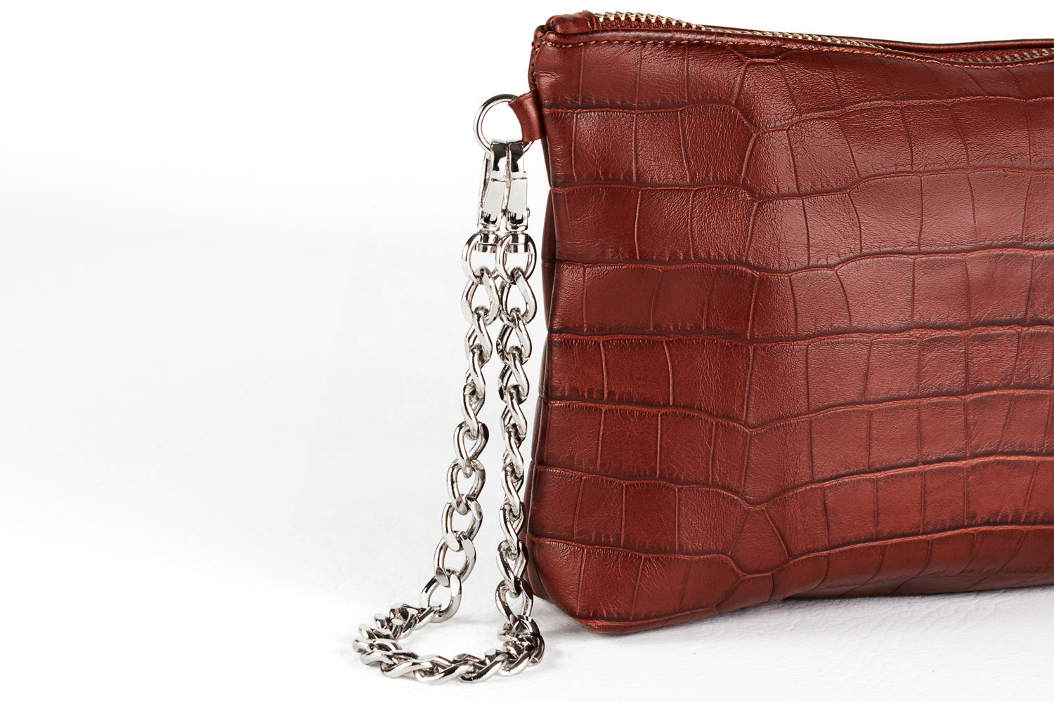 Mel Boteri | Cognac, Croc-Embossed Leather 'Kat' Pouch | Detail View