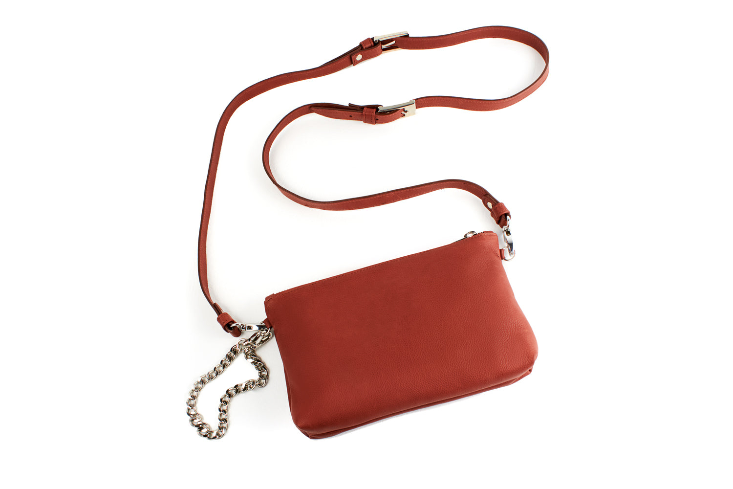 Mel Boteri | Cognac Leather 'Kat' Pouch | Shoulder Strap View