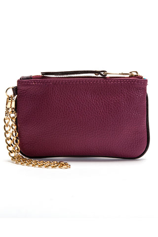 Burgundy-Plum 'Walsh' Italian Leather Pouch Back View Mel Boteri