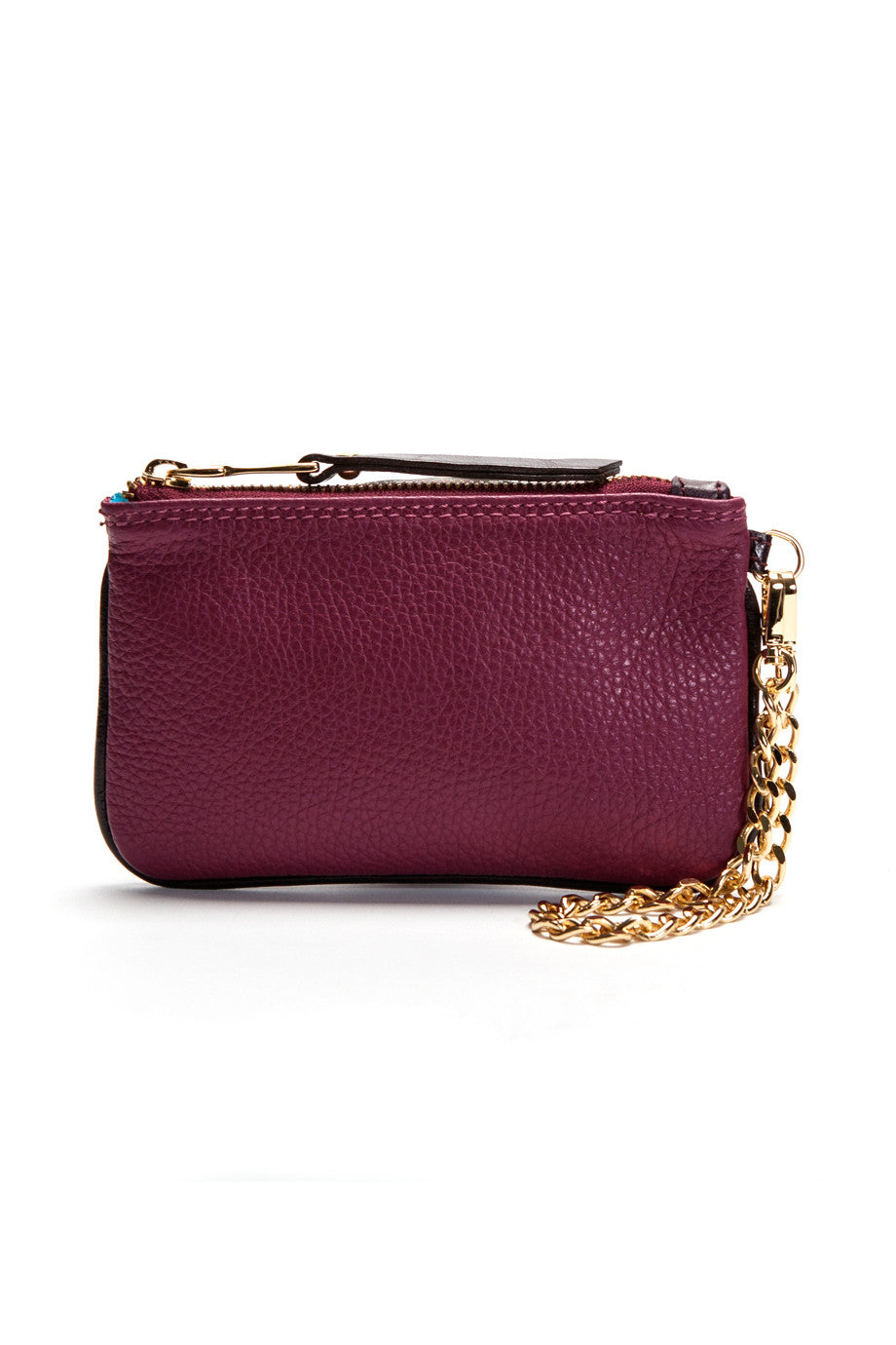 Burgundy-Plum 'Walsh' Italian Leather Pouch Front Mel Boteri